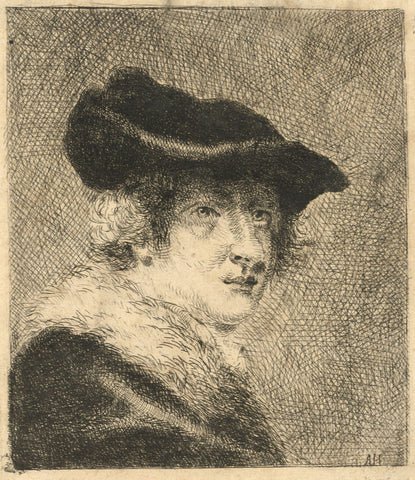 A. Hunter, Portrait in Hat and Furs - Original early 19th-century etching print