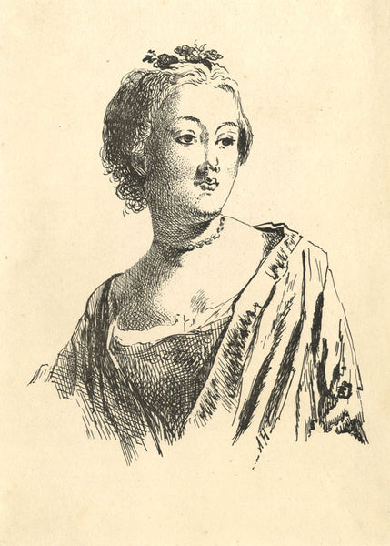 A. Hunter, Portrait of a Pensive Lady - Original early 19th-century etching print