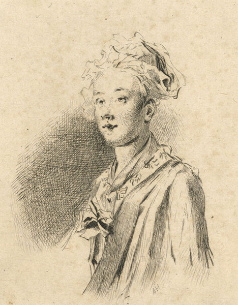 A. Hunter, Lady in Contemplation Portrait - Original early 19th-century etching print