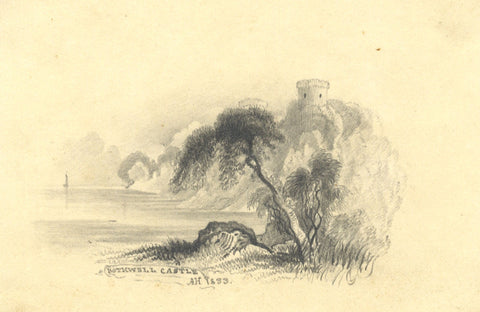 A. Hunter, Bothwell Castle, Scotland - Original 1833 graphite drawing