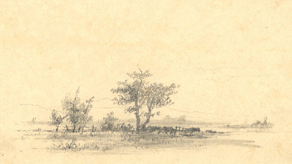 A. Hunter, Landscape View - Original early 19th-century graphite drawing