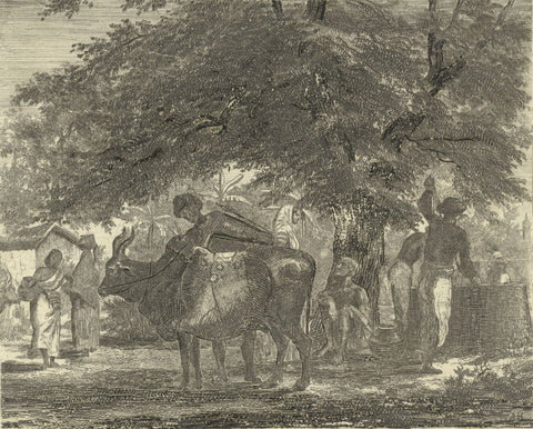 A. Hunter, Indian Men Working - Original early 19th-century etching print