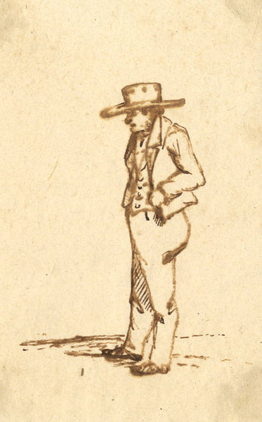 A. Hunter, Sepia, Gentleman in Hat - Original early 19th-century pen & ink drawing