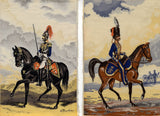 Pair of Machine Embroideries of 19th-century Royal Horse Artillery figures