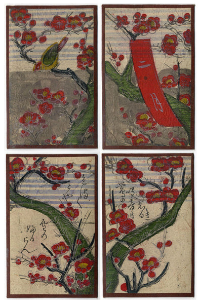 Japanese Flower Cards –Four Hand-Coloured Woodblock Prints, February Nightingale