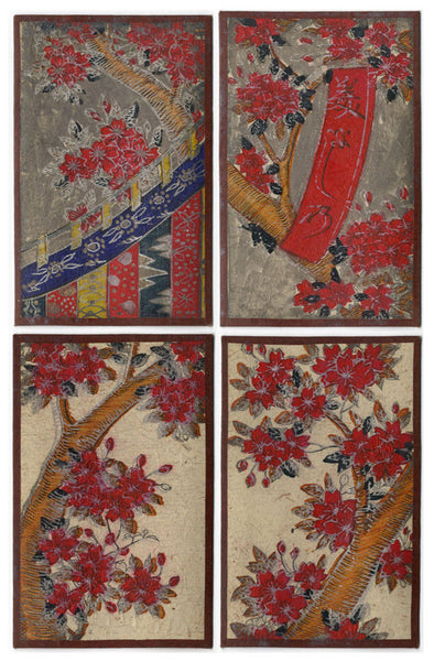 Japanese Flower Cards – Four Hand-Coloured Woodblock Prints, March Cherry