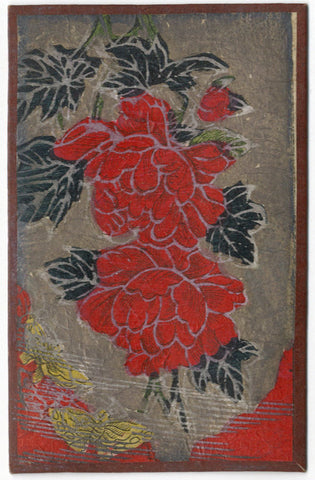 Japanese Flower Card – Hand-Coloured Woodblock Print, June Peony & Butterfly