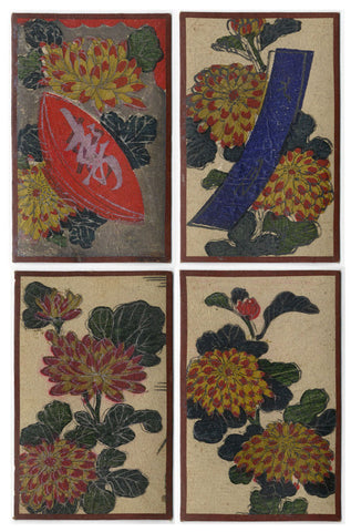 Japanese Flower Cards – Four Hand-Coloured Woodblock Prints, Sept Chrysanthemum