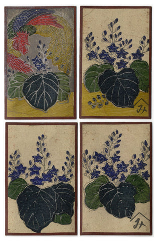 Japanese Flower Cards – Four Hand-Coloured Woodblock Prints, December Paulownia