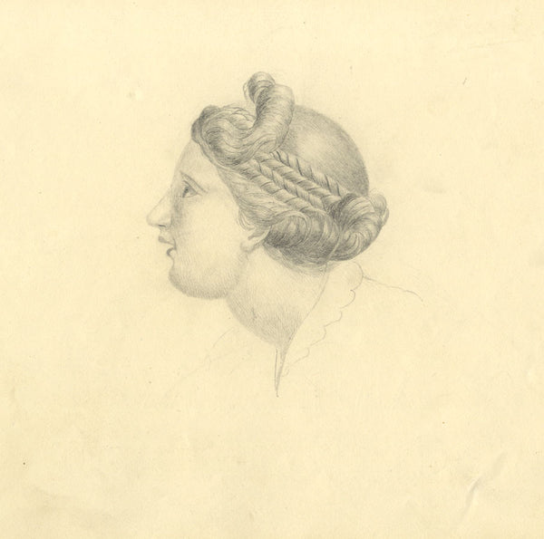 Alfred Potter, Portrait of a Woman in Profile - Original 1825 graphite drawing