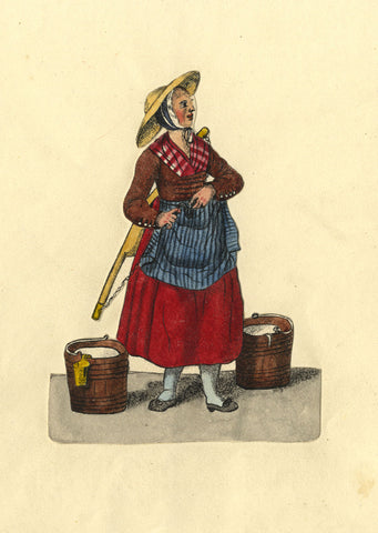 Milk Maid - Original early 19th-century watercolour painting