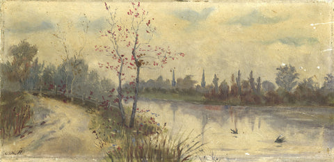 A. Cotterell, River Landscape - Original early 20th-century oil painting