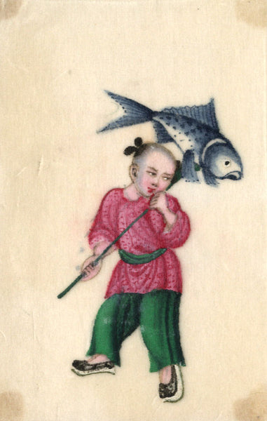 Antique 19th-century Chinese Pith Painting, Child with Fish Lantern