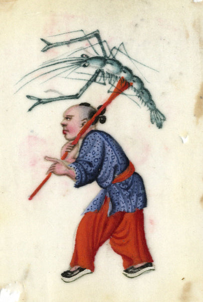 Antique 19th-century Chinese Pith Painting, Child with Lobster Lantern