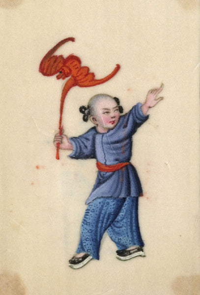 Antique 19th-century Chinese Pith Painting, Child with Red Bat Lantern