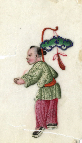Antique 19th-century Chinese Pith Painting, Child with Paper Lantern