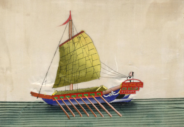 Antique 19th-century Chinese Pith Painting, Junk Boat with Oarsman