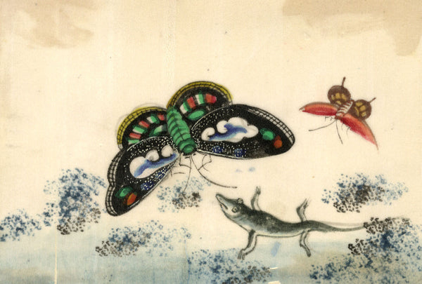 Antique 19th-century Chinese Pith Painting, Chinese Gecko & Butterflies