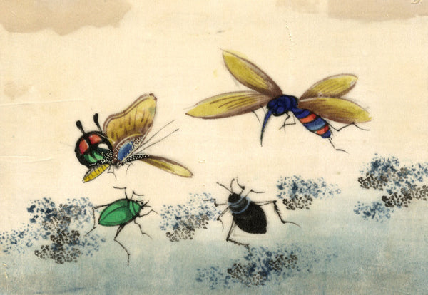 Antique 19th-century Chinese Pith Painting, Chinese Insects