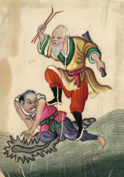 Antique 19th-century Chinese Pith Painting, Corporal Punishment Bastinado