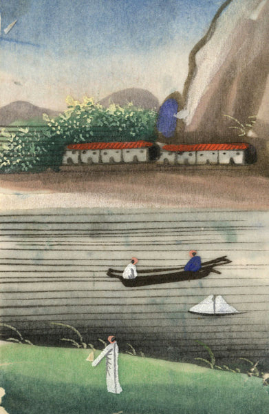 Antique 19th-century Chinese Pith Painting, River Landscape with Houses and Boat