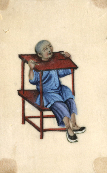 Antique 19th-century Chinese Pith Painting, Torture Man in Stocks