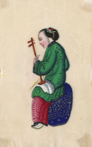 Antique 19th-century Chinese Pith Painting, Musician Woman Playing Erhu Violin