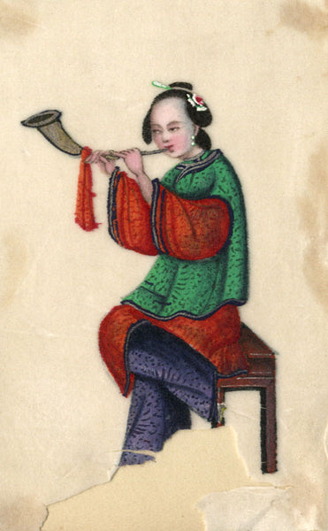 Antique 19th-century Chinese Pith Painting, Musician Woman Playing Horn