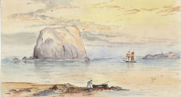 Bass Rock, Scotland - Original 19th-century watercolour painting