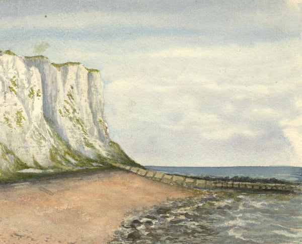Coastal View, White Cliffs, Dover - Original 19th-century watercolour painting