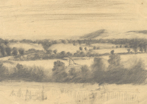 Country View with Windmill - Original early 20th-century graphite drawing