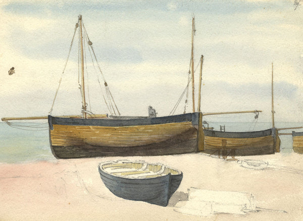 Beached Sailing Boats - Original 19th-century watercolour painting