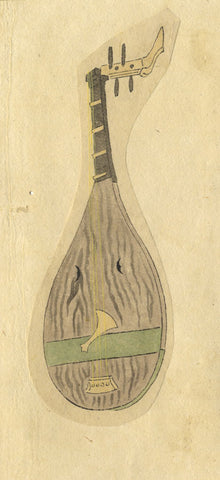 Shamisen Stringed Instrument - Original 19th-century Japanese watercolour painting