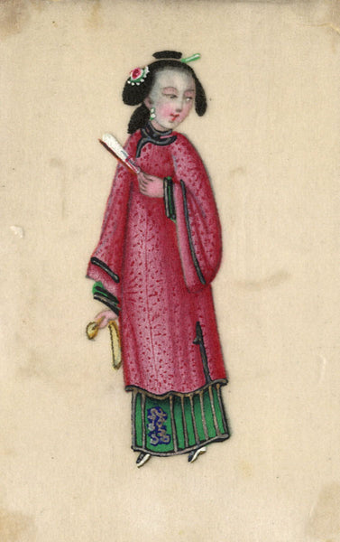 Antique 19th-century Chinese Pith Painting, Regal Lady with Fan