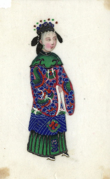 Antique 19th-century Chinese Pith Painting, Regal Lady