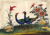 Two Antique 19th-century Chinese Pith Paintings, Pheasant Birds, Insects & Frog