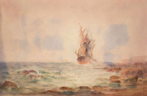 William John Baker, Sailing Ship off Rocky Coast - Original 19th-century watercolour painting