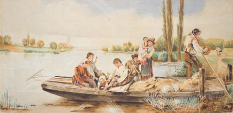 Riverfolk Family Aboard Punt Boat - Original 19th-century watercolour painting