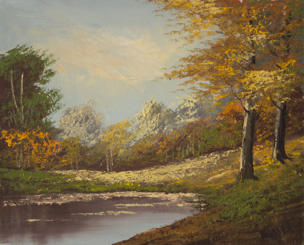 Autumn Trees by Lake - Original mid-20th-century oil painting