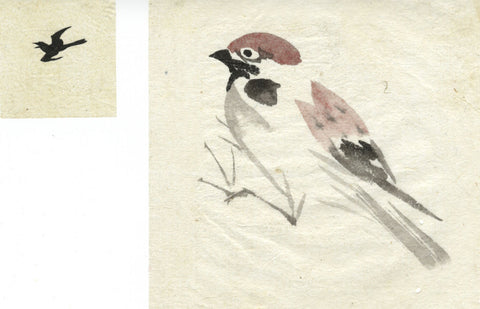 Two Birds Tree Sparrow -Two original 19th-century Japanese watercolour paintings