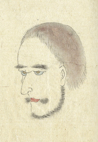 Western Portrait - Original 19th-century Japanese watercolour painting