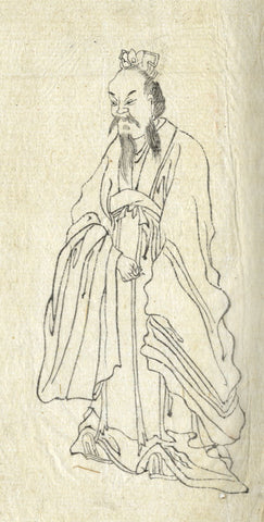 Japanese Sage in Kimono - Original 19th-century Japanese watercolour painting