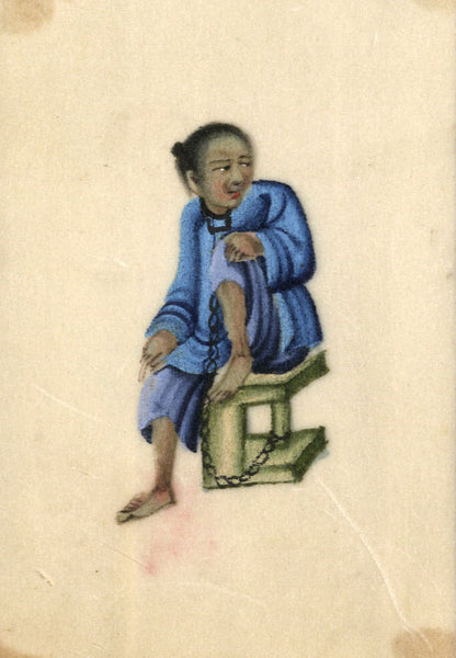 Antique 19th-century Chinese Pith Painting, Torture Man in Chains
