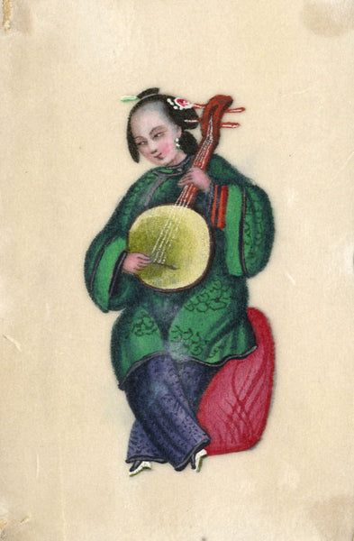 Antique 19th-century Chinese Pith Painting, Musician Woman Playing Qinqin Lute