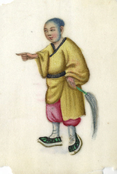 Antique 19th-century Chinese Pith Painting, Man with Fly Whisk