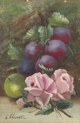 E. Chester, Still Life Plums & Roses - Original early 20th-century oil painting