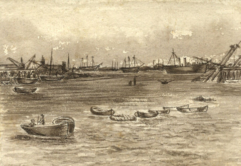 Sepia Moored Boats - Original 19th-century watercolour painting