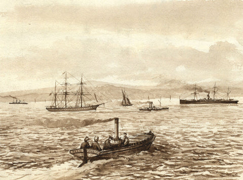 "Sepia ""Rose, Glasgow"" Steamboat on the Clyde - Original 19th-century watercolour painting"