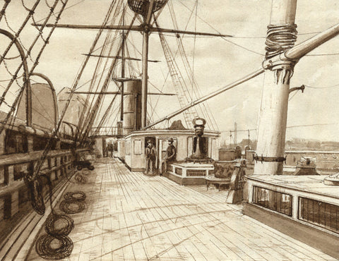 The Deck of the Ceylon - Original 19th-century watercolour painting