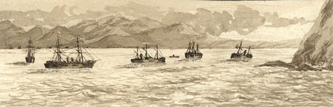 Blockade of Callao by the Chilean Fleet - Original 1881 watercolour painting